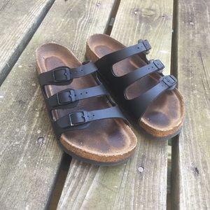 Birkenstock Black Leather Three Strap Sandal